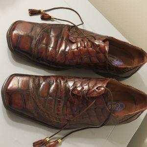 Fratelli Shoes Sz 11 Men's Leather Crocodile Patte